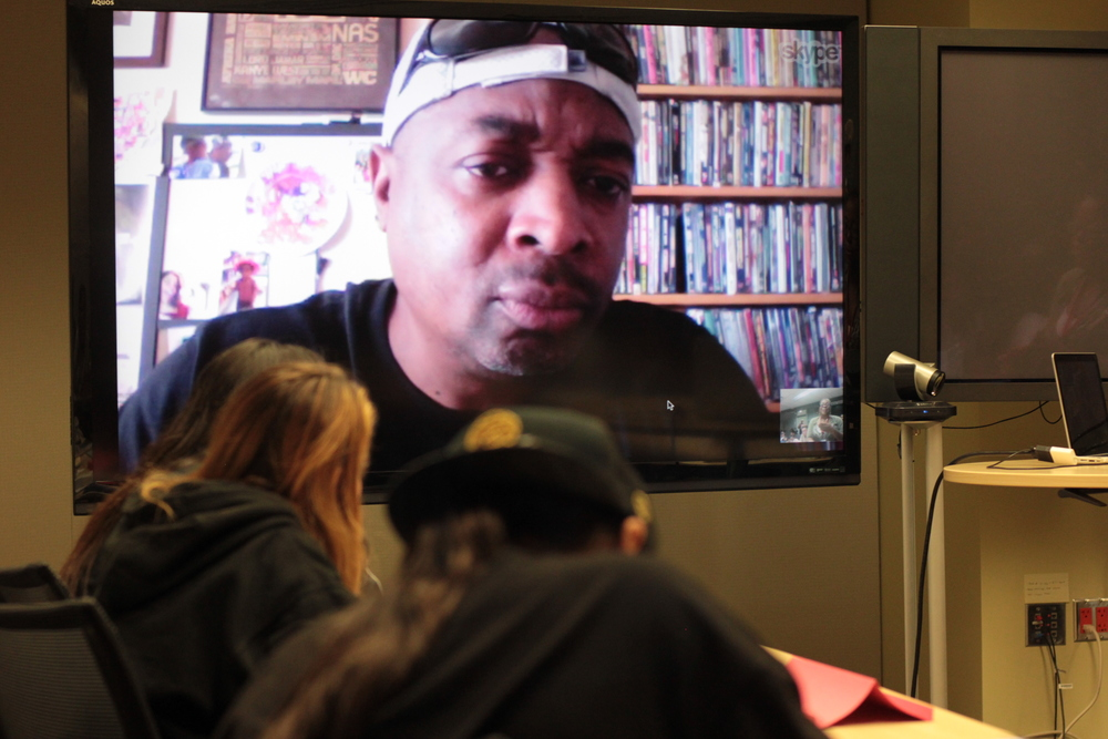"Guest Lecture visit with Chuck D, hip Hop Pioneer, of group ""Public Enemy"". a prolific writer an rock and roll Hall of Fame inductee. Chuck shares his inspiration and writing techniques with the InterTribal youth"