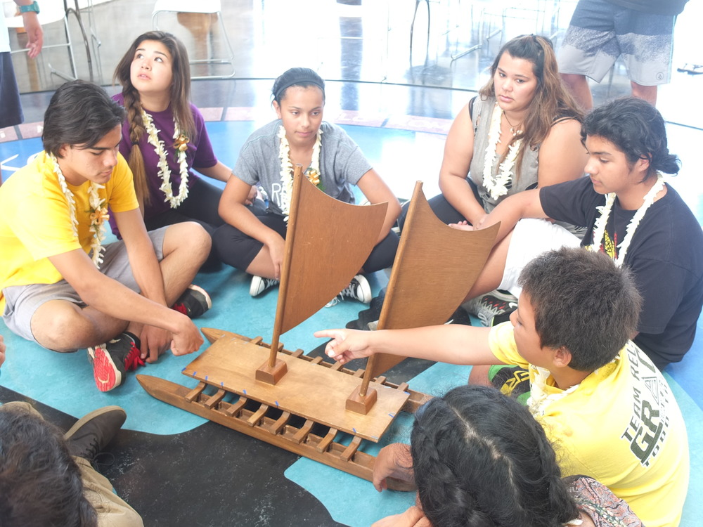 Learning about Traditional Star Navigation by teachers/participants of the Polynesian voyage society.  A visit to Kamehameha School, a private school system in Hawaiʻi established by the Bernice Pauhi Bishop Estate.