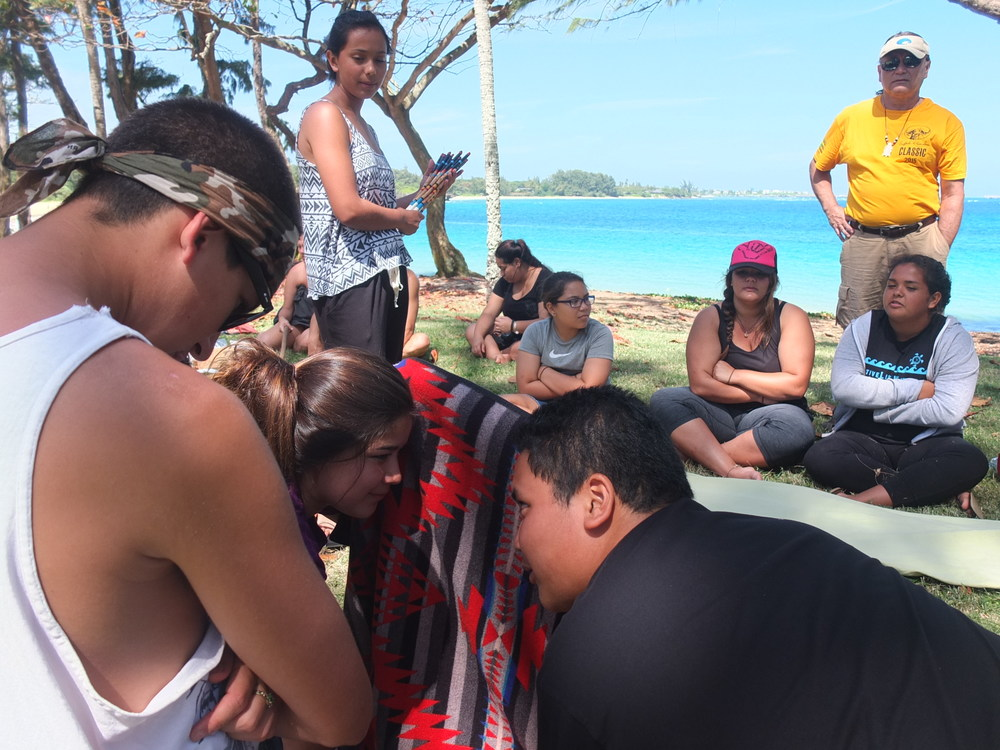 Traditional Gaming of Kumeyaay. Demonstration of Peon Stick Games with Hawaiian Na Kama Kai youth.