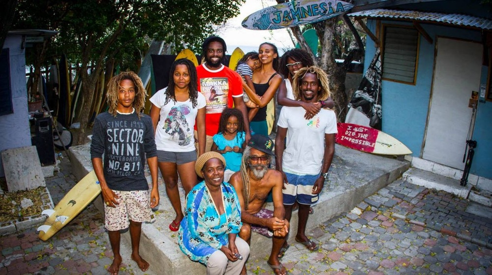 Billy Wilmot and Young Family of Jamnesia and Jamaica Surf Team. Youth appreciate the rare outlet of surfing, skating, Music, positive Vibes.