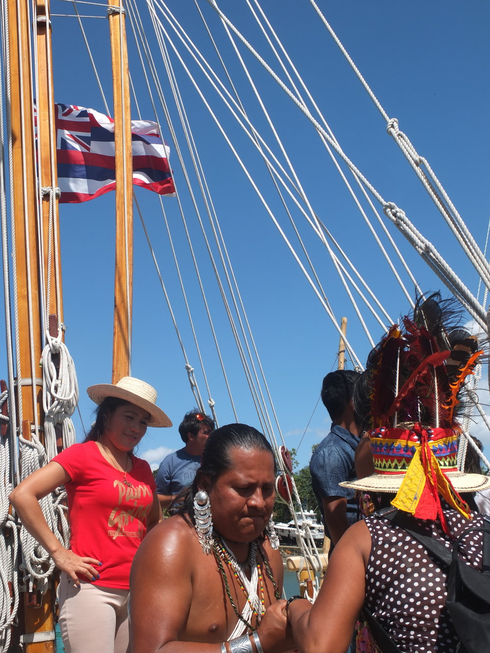 Indigenous Nations from around the world will gather in Ohau Hawaii in honor of Hokulea's Malama Honua world Wide voyage. Photo: January 2017, Panama Indigenous nations tour hokulea during its provisions stop and transoceanic path through the Panama canal