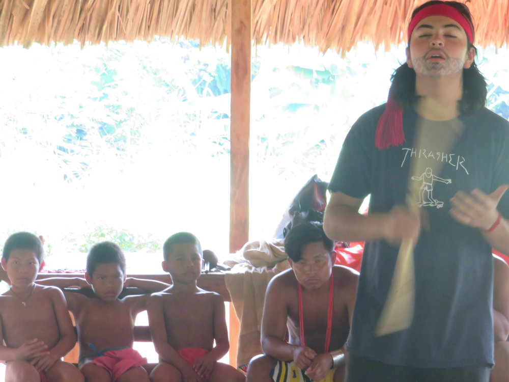 Zion sharing Nahuatl (Mexico) Songs with the community of Embera Quera in panama Intertribal youth cultural exchange