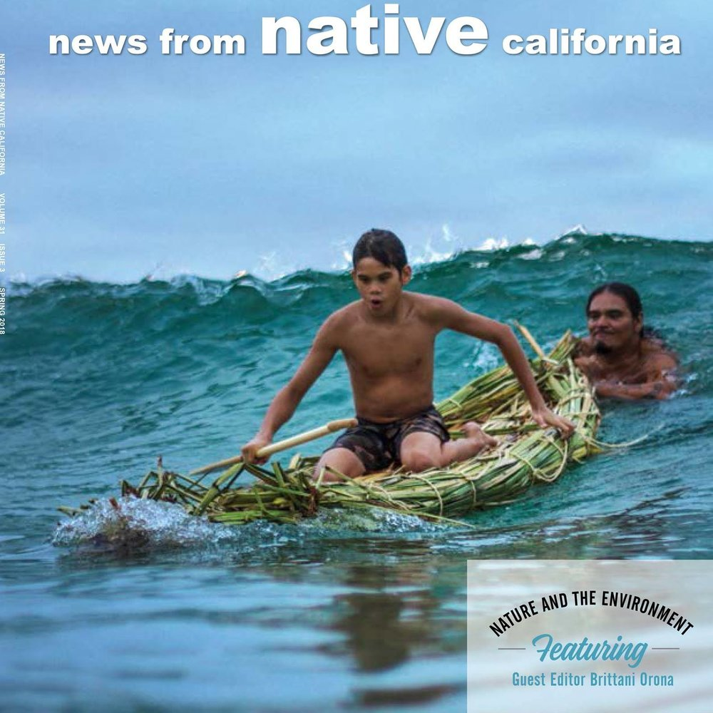 2018 Cover Story featuring Nahko Scholarship 2017 Recipient,  Puna Watson, Native Hawaiian and Mentor Blue Vigil, Native Kumeyaay, of San Diego. This Journal Magazine is the most important Peer Review publication on culture and education in California. Honored.