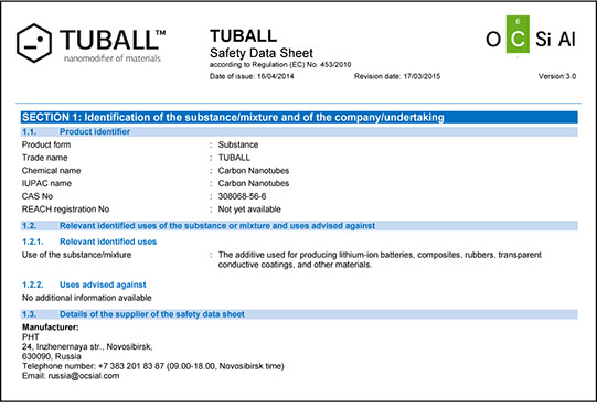 TUBALL™ Safety Data Sheet