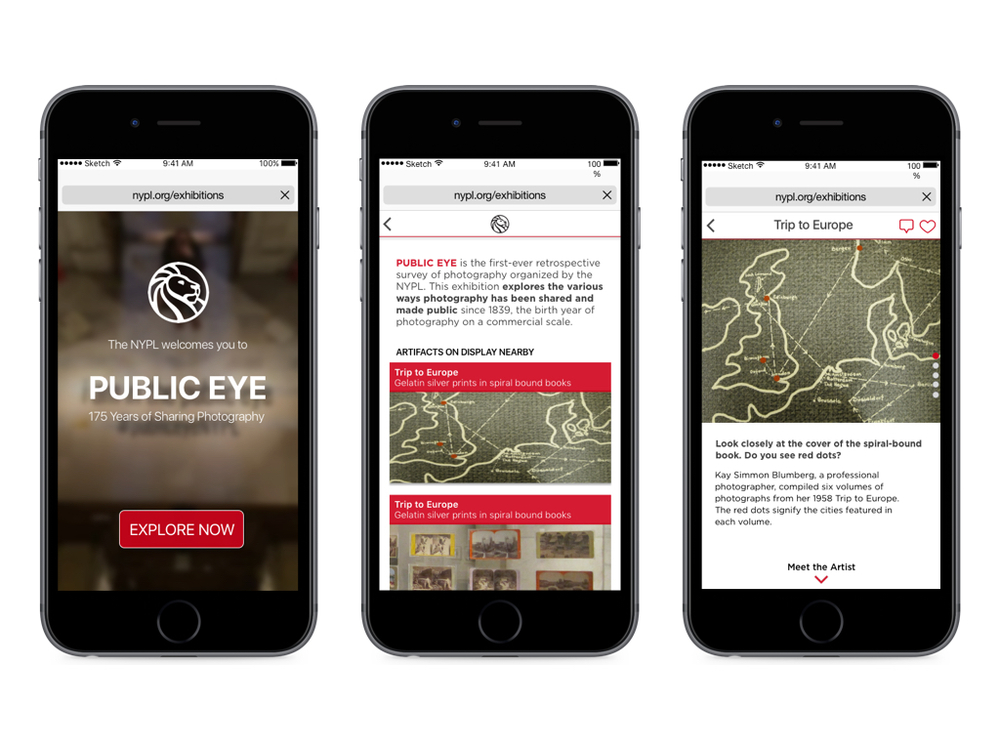 Stories by NYPL - proposed concept for a webapp to improve exhibition experience at NYPL