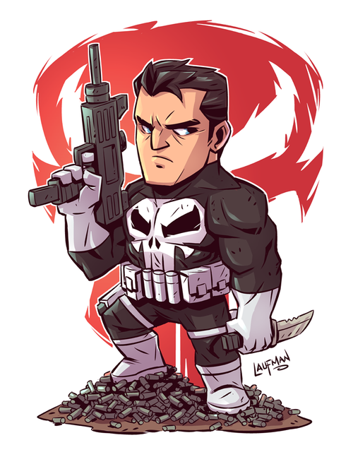 chibi punisher 8 5x11 print derek laufman