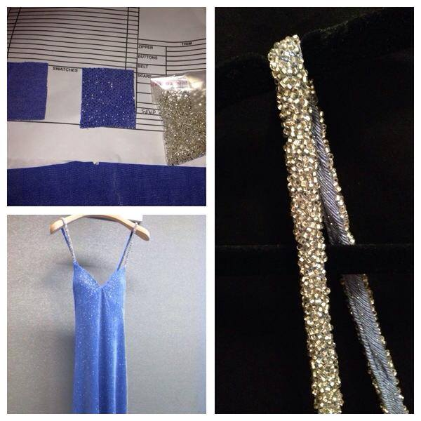 06.06.2013 The Blue Fairy dress was made using glitter fabric with silver beaded straps. Here's a close up of the straps..jpg