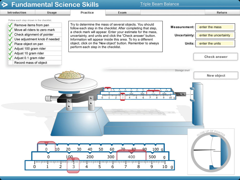 Physics Curriculum Instruction Fundamental Science Skills – Reading a Triple Beam Balance Practice Worksheet