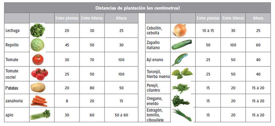 Espacio recomendado entre cultivos