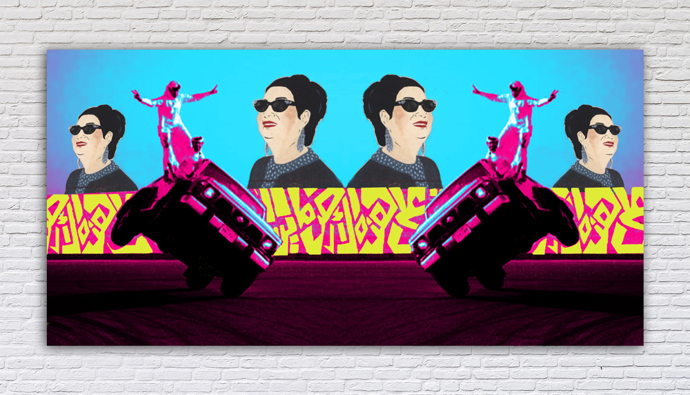 "MenaPop #1.   Limited Edition Giclee Print. 9' X 5'. 2015.  The great Egyptian singer Umm Kulthum (visual influence of Chant Avedissian's work) looks on from a bygone era of Arab secularism onto the viral antics of Saudi youth balancing on 2-wheeling Nissan Patrols. All while a verse from the Palestinian poet Mahmoud Darwish connects the past with the present and reminds the viewer of the hopeful possibilities of the future:  ""We have on this land that which makes life worth living"""