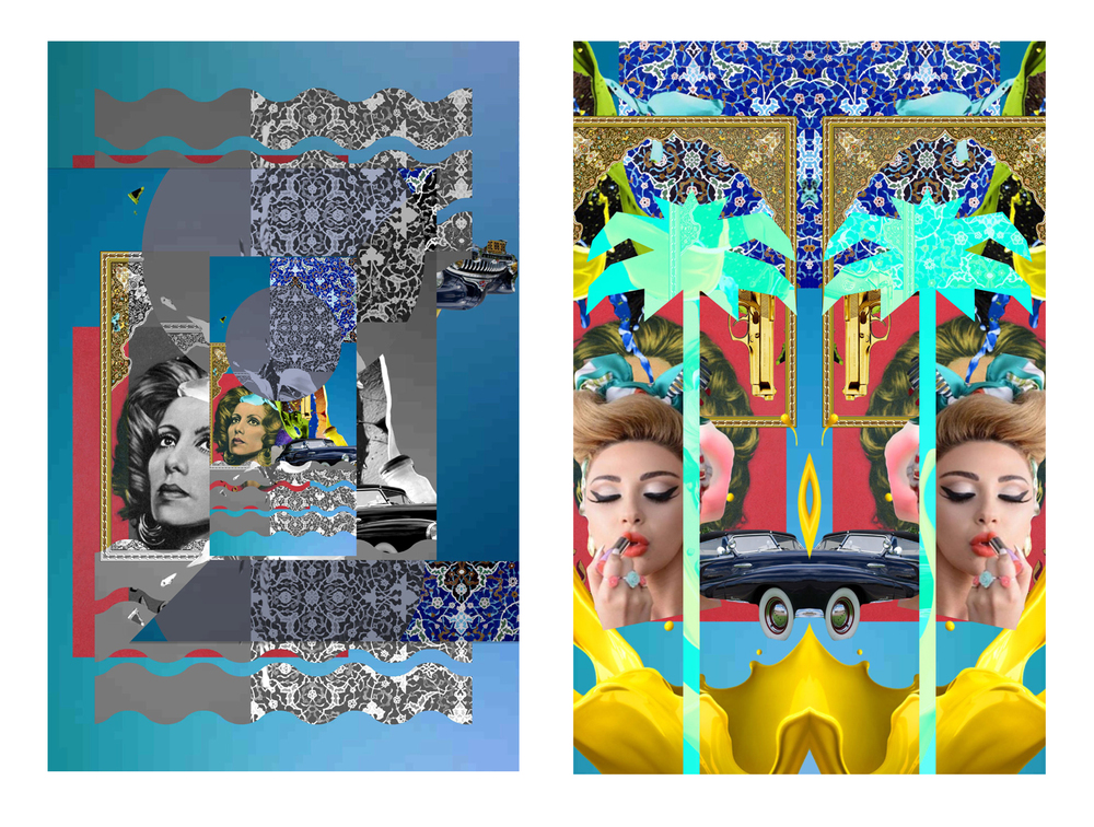 MENAPOP Collage 1 & 2.   Limited Edition Giclee Print. 3' X 5'. 2015.