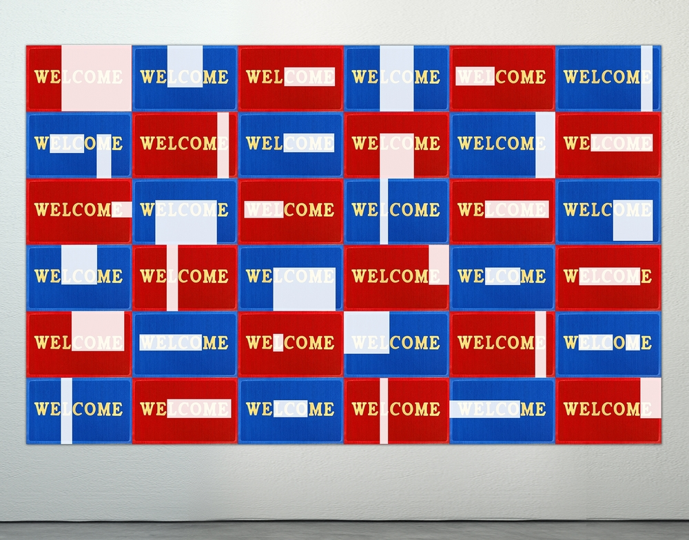 Welcome.  Acrylic on Doormats. 12' X 8'. 2015.