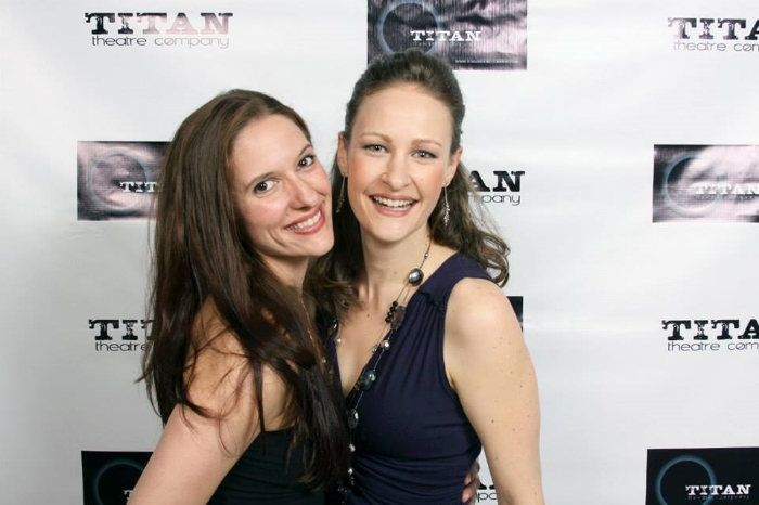 Laura Frye (Iago) and Leah Gabriel (Roderigo) at Opening Night of Titan's all female Othello. Photo by Lloyd Mulvey.