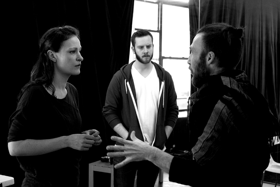Leah Gabriel, Giacomo Baessato and director Adam Fitzgerald rehearse The Good Girl. Photo by Lloyd Mulvey  www.lloydmulvey.com