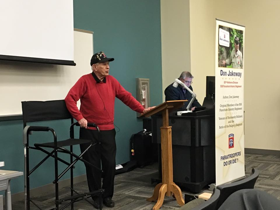 Don Jakeway, WWII veteran of the 82nd Airborne Division and 508 Parachute Infantry Regiment, visited the 110's France class on Feb. 4 to give band members an enriched perspective on D-Day and Normandy.