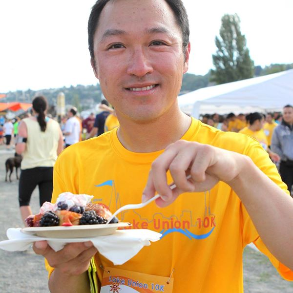 Portage Bay is looking forward to participating in the Lake Union 10K coming up in August. Here's a participant enjoying a meal last year!