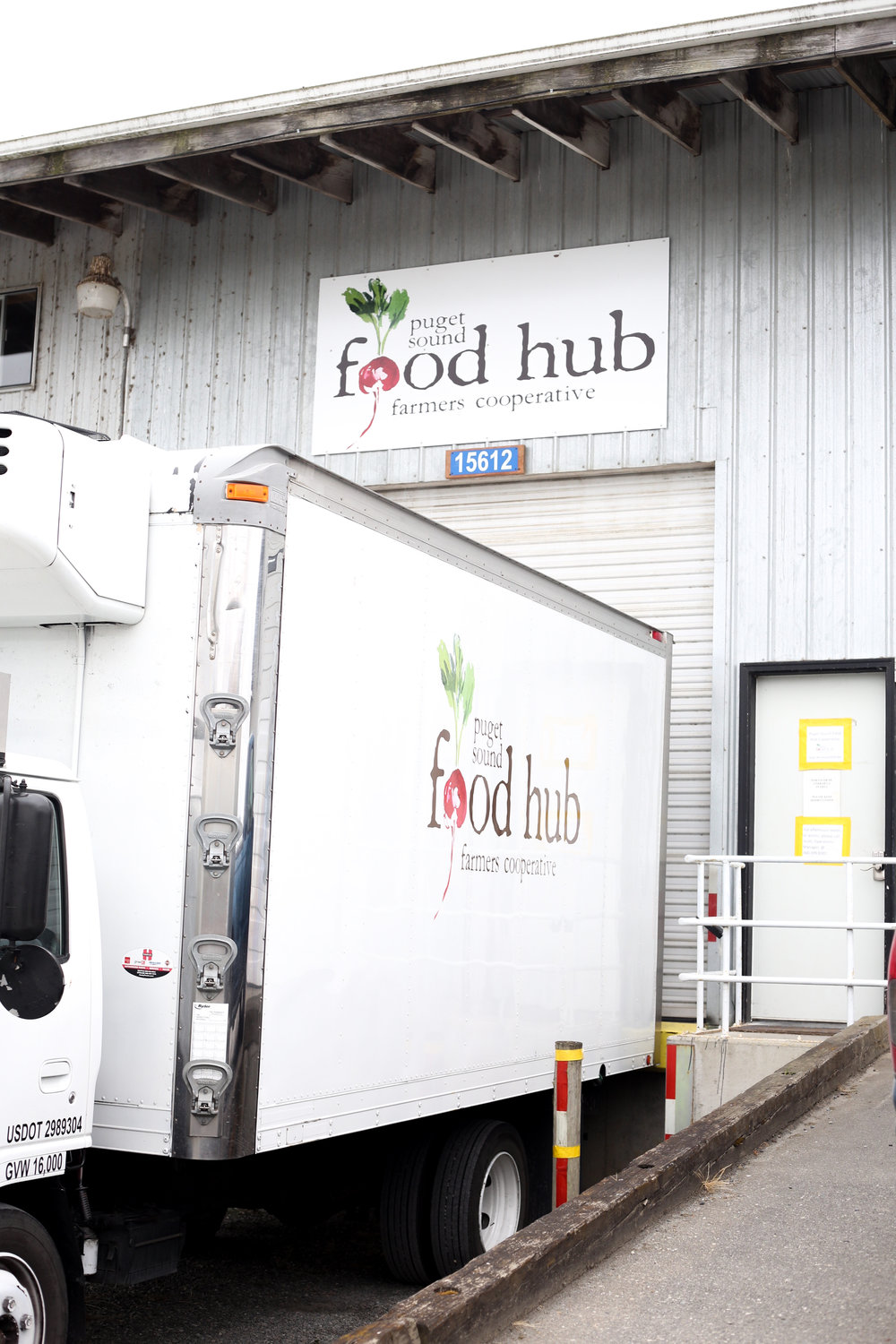 The exterior of the Puget Sound Food Hub warehouse.