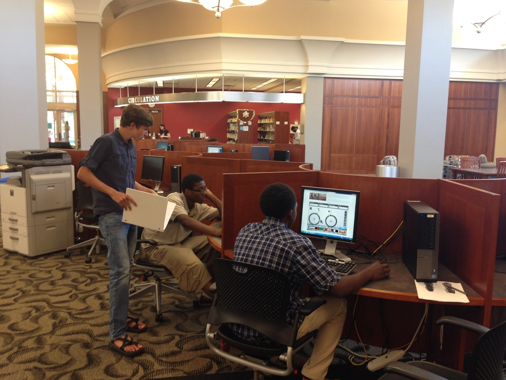Team Frepair working in the Furman Library to research their project.