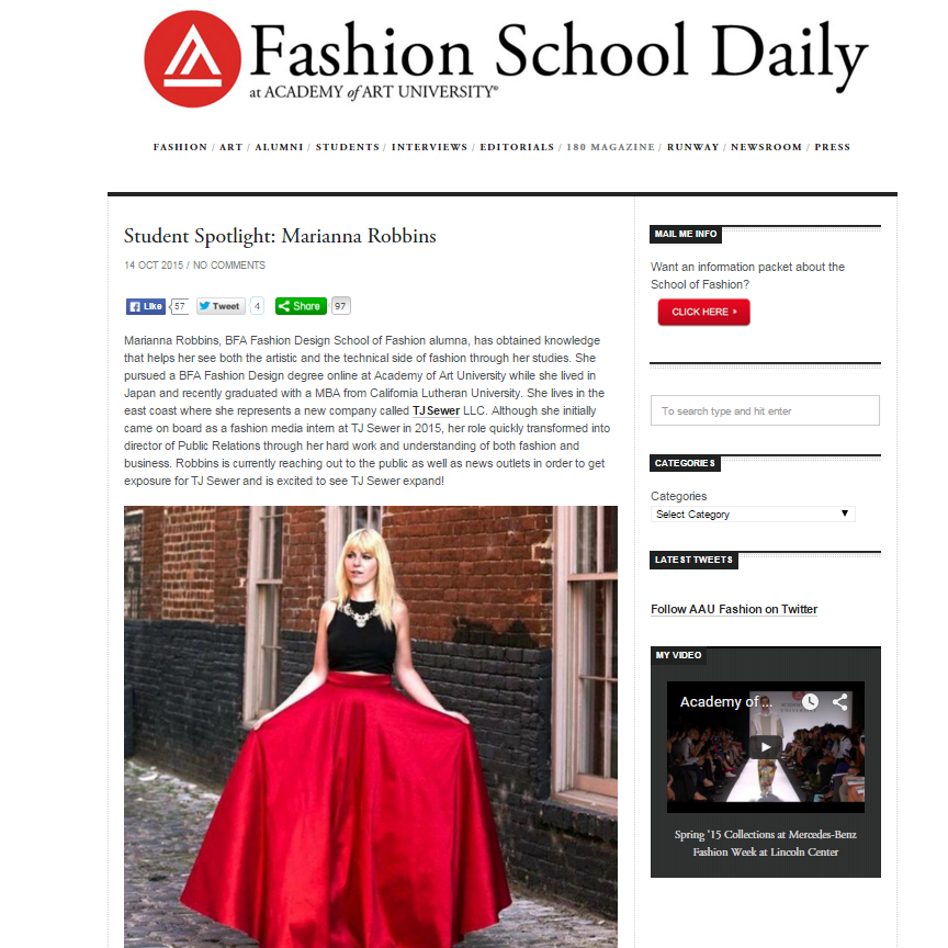 Fashion School Daily, October 2016