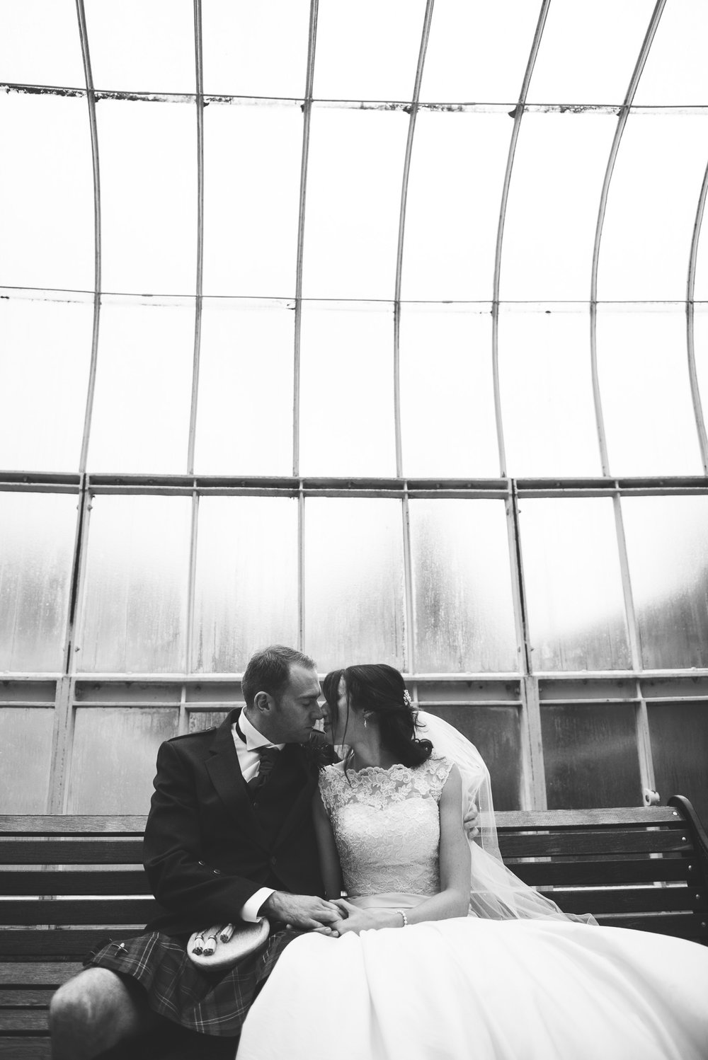 Bride and Groom at Glasgow Botanic Gardens