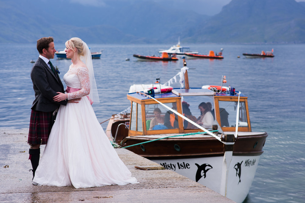 Misty Isle Boat with Bride and Groom