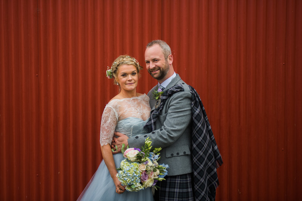 Bride and Groom at Dalduff Farm Wedding