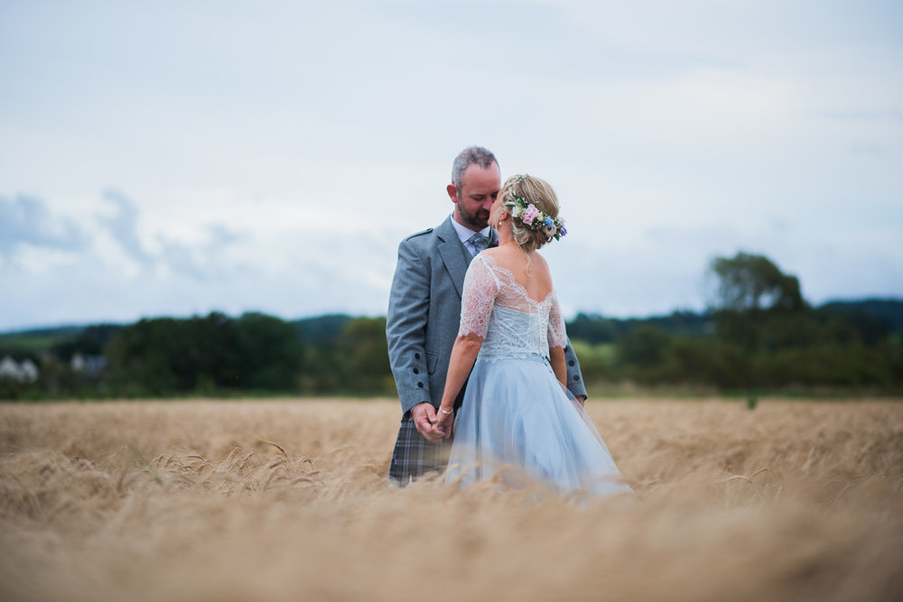 Dalduff Farm barley field wedding couple
