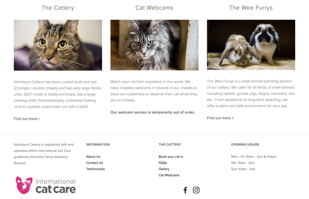 Hombyre Boarding Cattery Website Homepage Example