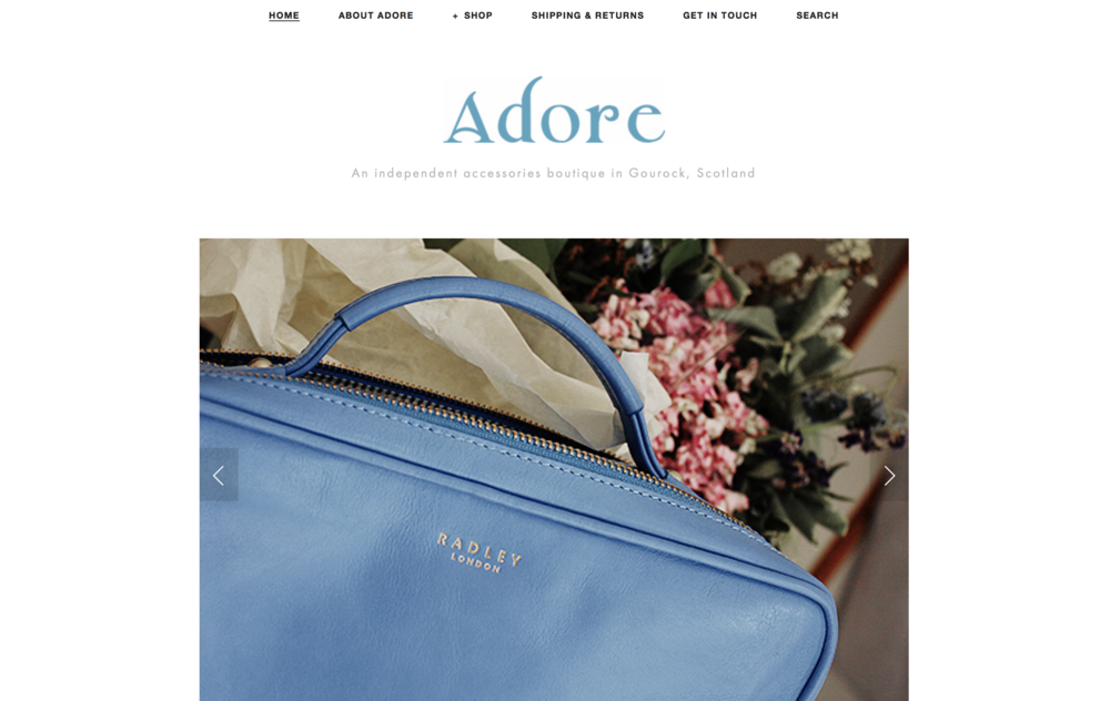 Adore Accessories Boutieque Gourock Website Homepage Example