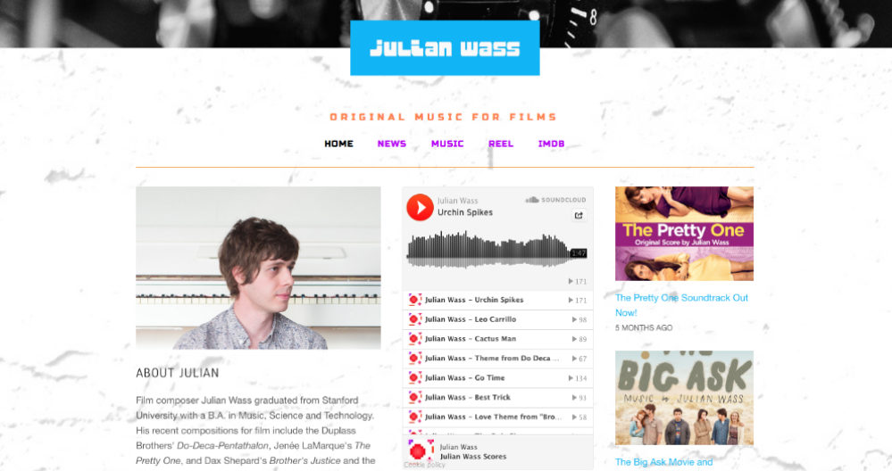 Julian Wass  creates music for films.  Visit this site.
