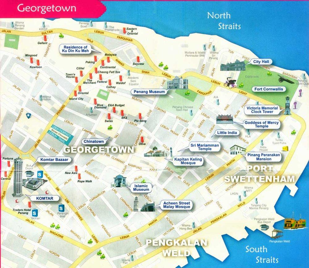 Mapa con puntos de interés en Georgetown