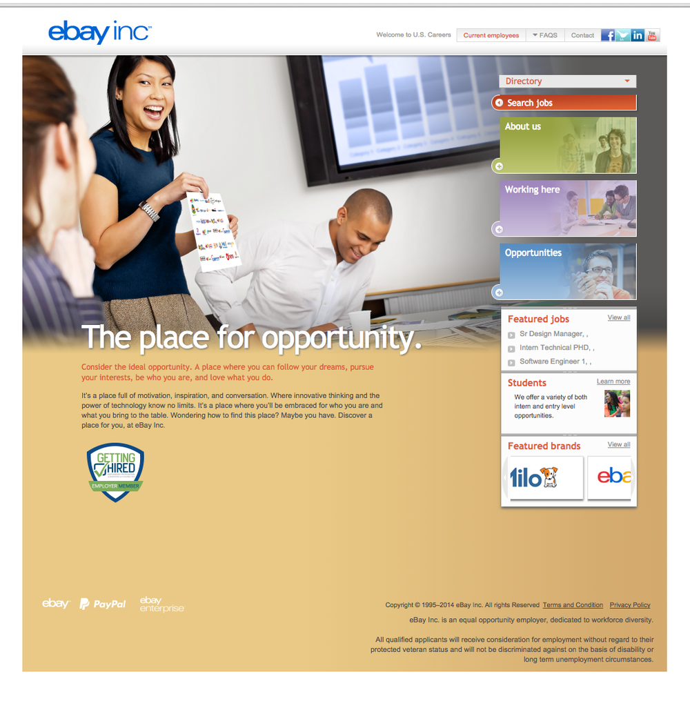 The old eBay Careers portal did not offer a good user experience for potential job applicants.