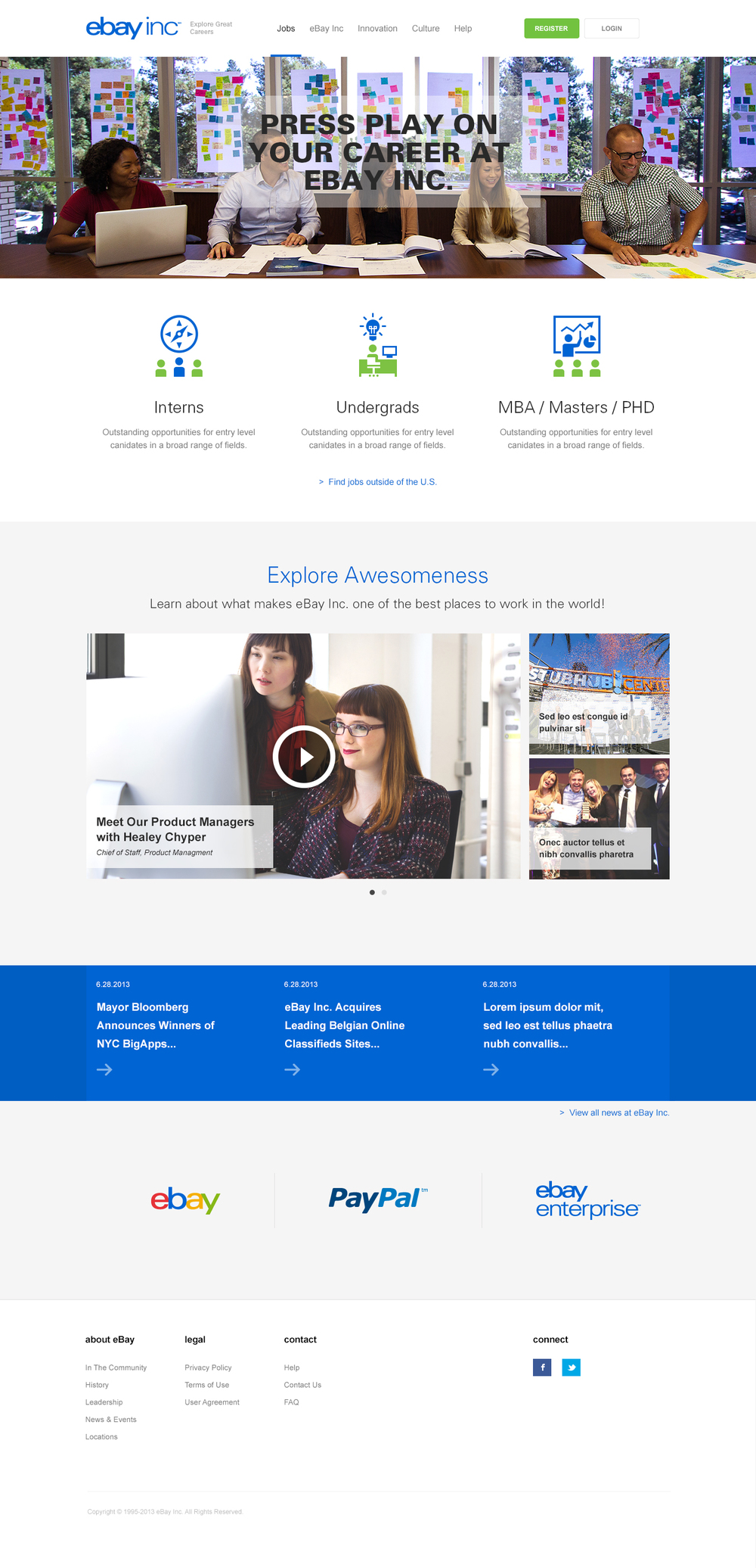 New home page: Personal elements like employee stories mixed with a clean, balanced layout and immersive content styling immediately impress upon the user the value of the eBay Inc. brands