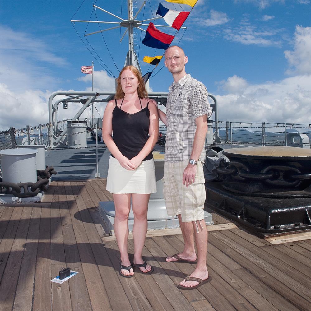 "Stine & Rune Overgaard    Battleship Missouri Memorial,Nov. 11, 2010    Archival Pigment Print, 19.75"" x 19.75"""
