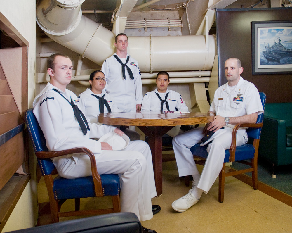 "Daniel Hurd, Jeffery Le, Janet Mureno, Troy Higgins, & David Credeur    Battleship Missouri Memorial, Dec. 9, 2010    Archival Pigment Print, 19.75"" x 15.75"""