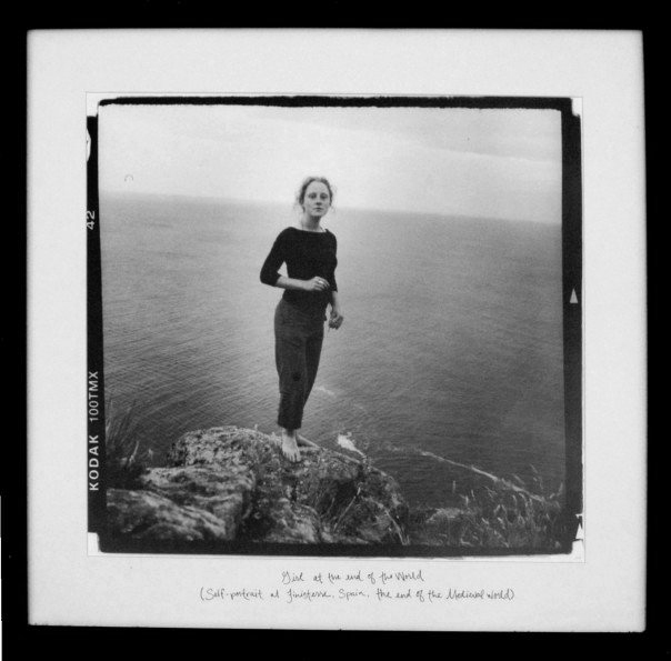 "Girl at the End of the World  (2005)   Girl at the end of the World. (Self-portrait at Finisterre, Spain, the end of the Medieval world.)   Silver Gelatin Print, 18""x 18"""