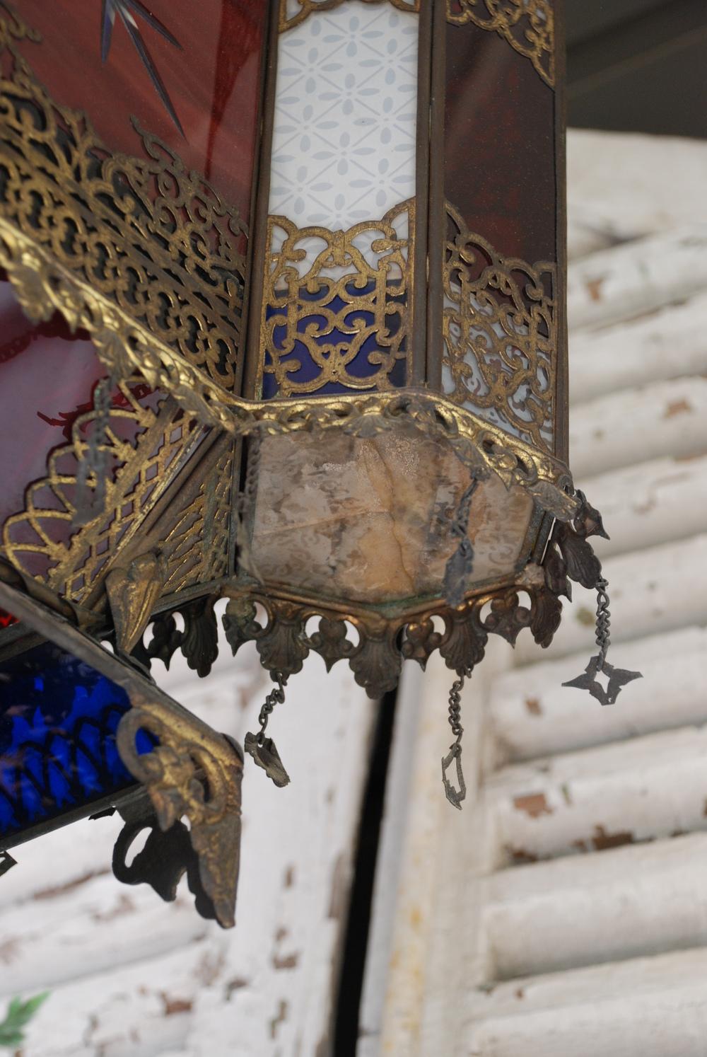 Antique Moroccan Lantern Hangs Overhead