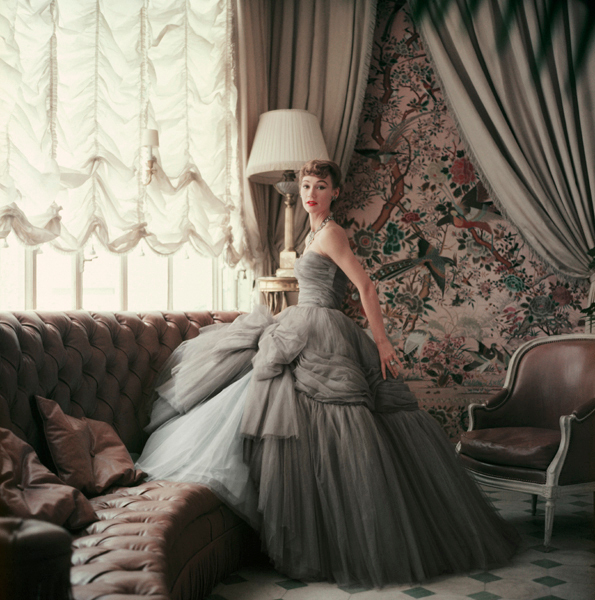 Sophie Malgat in Gray Chiffon Dior in Dior's Paris Home by Mark Shaw, available on  1stDibs .