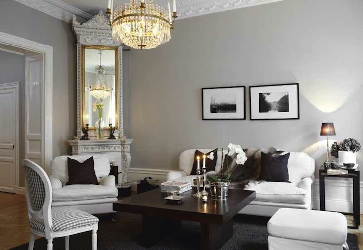 Crisp Greige Swedish living room via  Decorpad .