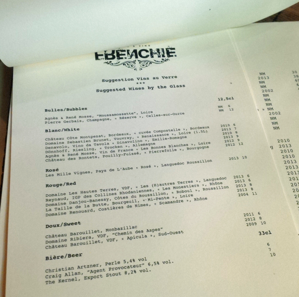 Frenchie's Wine Menu