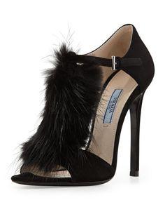 Prada T-Strap Fur Heels