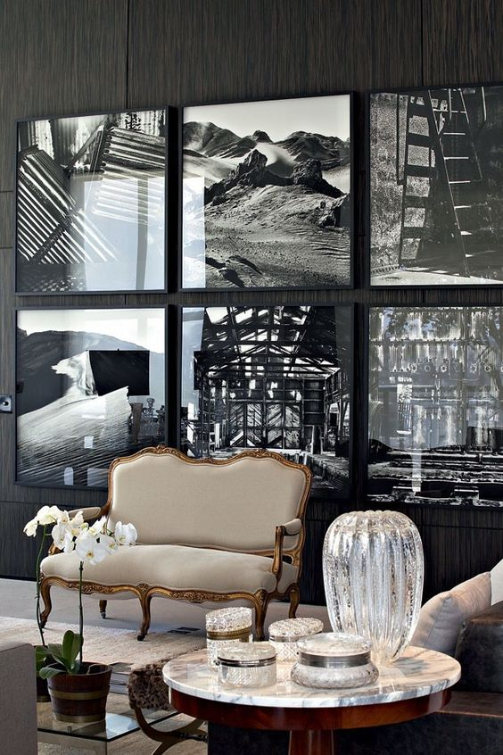 This black and white grid adds a modern graphic punch to the ornate settee. (via Casa Vogue)