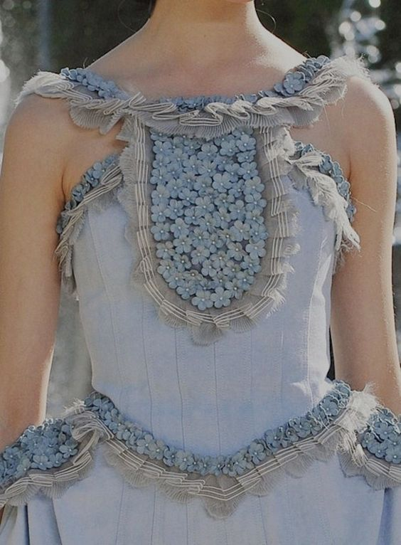 This is Spring - Marie Antoinette blue, delicate lacework and baby flowers. {via  Haute Design }