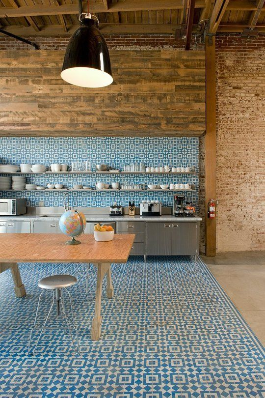 Modern blue tile reminiscent of a Moroccan riad brings a youthful providence to this room. {via Apartment Therapy}