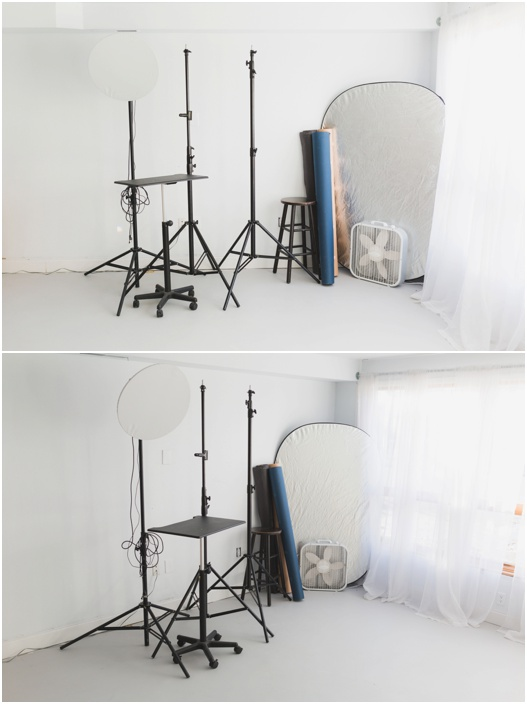 Rental includes use of backdrops, backdrop stand, bluetooth speaker, fan, reflectors , posing equipment and furniture and clothing props.