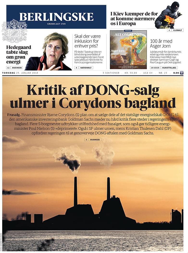 Berlingske frontpage
