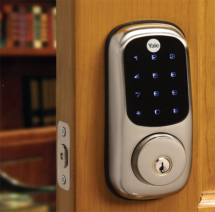 Locks come in many styles and configurations to match any home's design.   Pictured: Yale TouchScreen Deadbolt, Satin Nickel