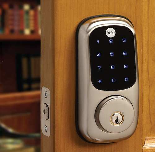 Locks come in many styles and configurations to match any home's design.   Pictured: Yale Touch Screen Deadbolt, Satin Nickel