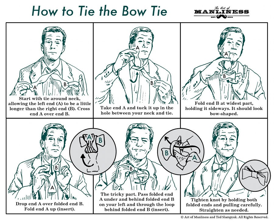 the art of manliness:  how to tie a bow tie.