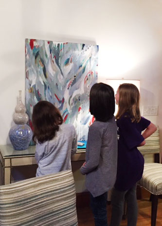 'Soar and Twirl', gets a closeup look by Christin's daughters and friend.